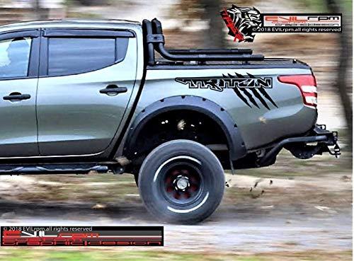 Evilrpm Vinyl Truck Bed Decal Sticker Kit-Distresed Csustom Graphics Design Compatible with Mitsubishi L200 Triton - Black