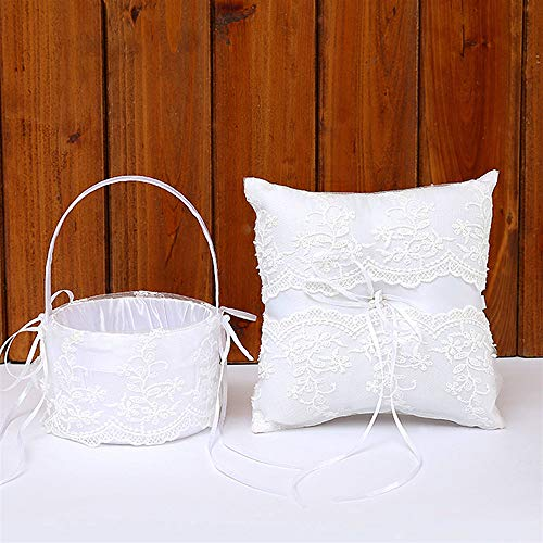 TRUE LOVE GIFT Ring Bearer Pillow and Wedding Flower Girl Basket Set Lace Pearl Rhinestones Satin Collection Wedding Anniversary Celebrations Party - Set Girl Basket Flower