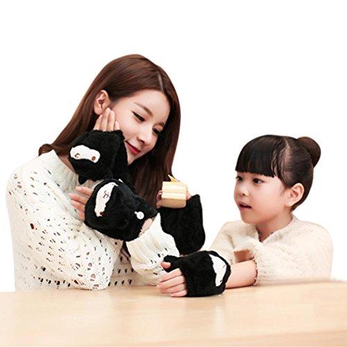 Sunfei Mom And Child Half-finger Flip Keep Warm Gloves (Black)
