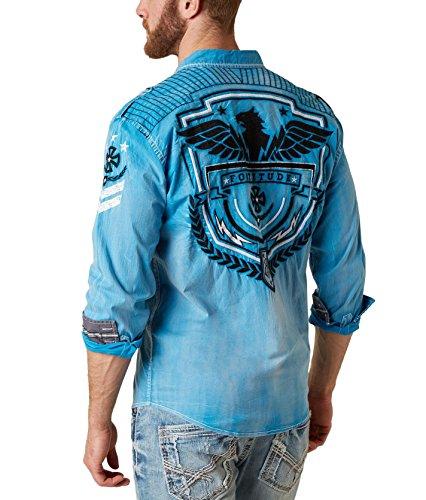 Men's Roar Cavalier Eagle Pilot Long Sleeve Button Down Shirt Blue (Small) (Eagle Pilot)