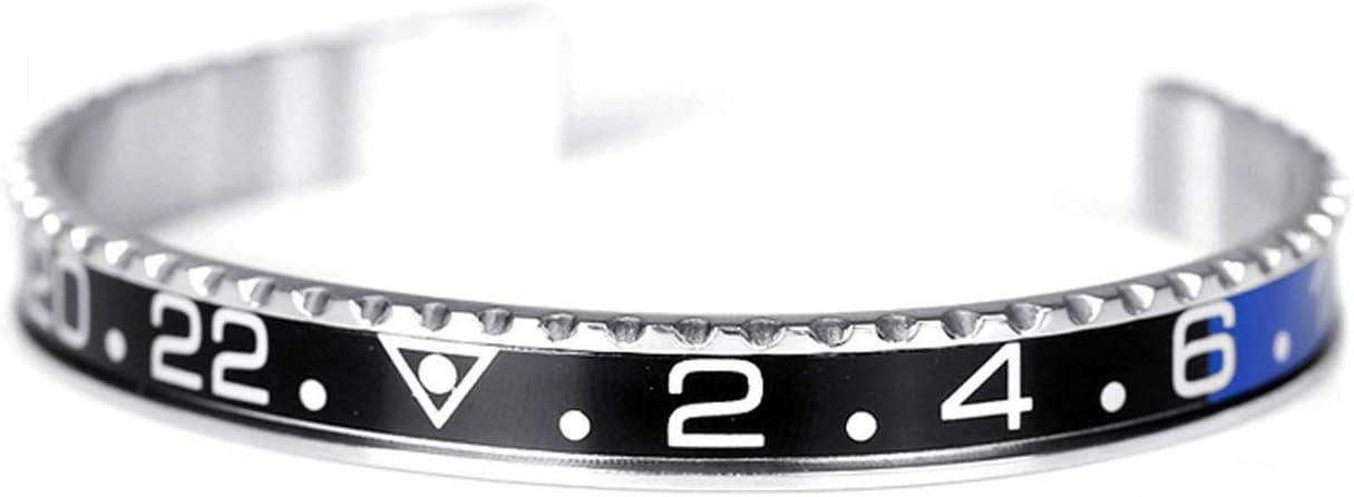 Titanium Steel Vintage Plated Bangle Bracelet for Men Stainless Steel Cuff Speedometer Bracelet,Black1