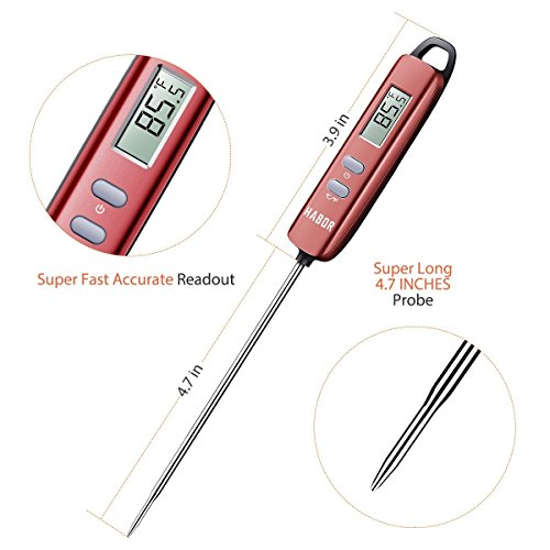 Meat Thermometer, Habor Instant Read Thermometer Cooking Thermometer Candy Thermometer with Super Long Probe for Kitchen Cooking BBQ Grill Smoker Meat Fry Food Milk Yogurt by Habor (Image #5)