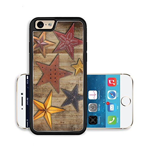 Liili Premium Apple iPhone 6 iPhone 6S Aluminum Backplate Bumper Snap Case Vintage Christmas star collection on a wooden background Photo 16452199