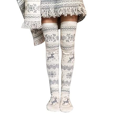 d0c9ac79a63 Masterein Women Knit Long Pile Reindeer Boots Socks Girl Winter Thigh High  Stocking Leggings  Amazon.co.uk  Kitchen   Home