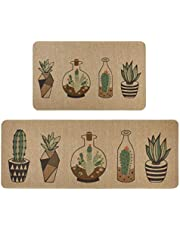 """Kitchen Rugs and mats,Famibay 2 Piece Cushioned Soft Non-Slip Rubber Backing Kitchen Floor Mats Water Absorbent Mats for Everyday Use (18"""" x 30""""+18"""" x 47"""")"""
