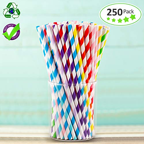Paper Straws, 250 Pack Christmas Paper Straws Bulk Drinking Biodegradable, 10 Different Colors Paper Straws Biodegradable Bulk Drinking Navy Bulk Paper Straws Drinking Bulk Biodegradable Paper Straws