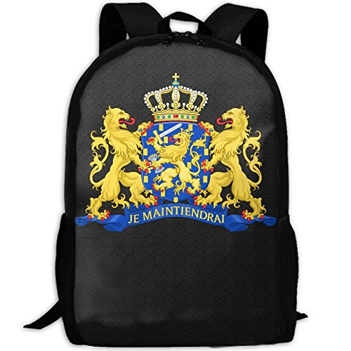 Coat Of Arms Netherlands Unique Outdoor Shoulders Bag Fabric Backpack Multipurpose Daypacks For Adult Netherland Coat Of Arms