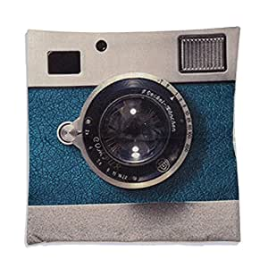 uxcell® Piccocasa Camera Pattern Cushion Cover Pillow Case 45 x 45cm Blue