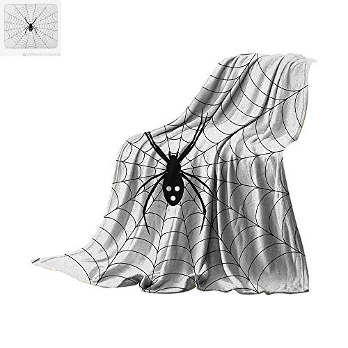 (Spider Web Lightweight Blanket Poisonous Bug Venom Thread Circular Cobweb Arachnid Cartoon Halloween Icon Velvet Plush Throw Blanket 60