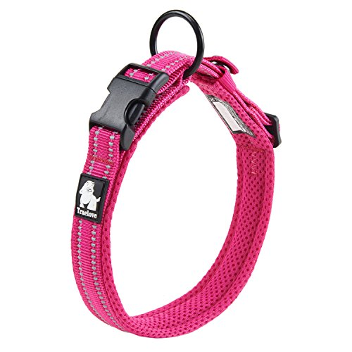 Pettom Adjustable Nylon Pet Collar Padded 1 Large 3M Reflective Dog Collar with Ring(L, Purple)