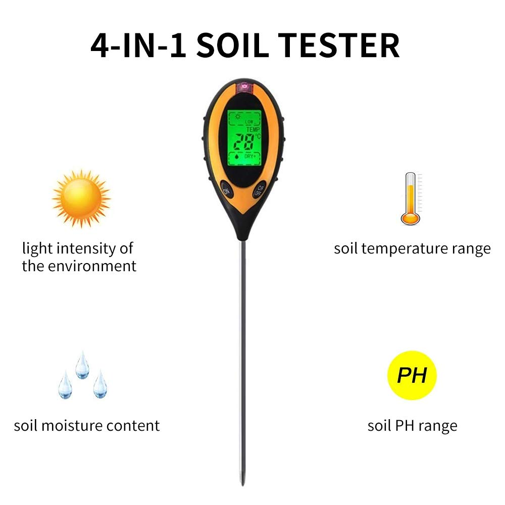 Chouchou 4-in-1 Electronic Soil PH Testerfor Garden Lawn Farm Home, Test Humidity, PH, Temperature Illumination