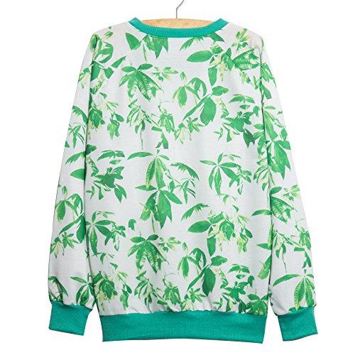 YICHUN mujeres niñas 'Tops camisetas Pullovers Thin jerséis Sudaderas Leaf 9#