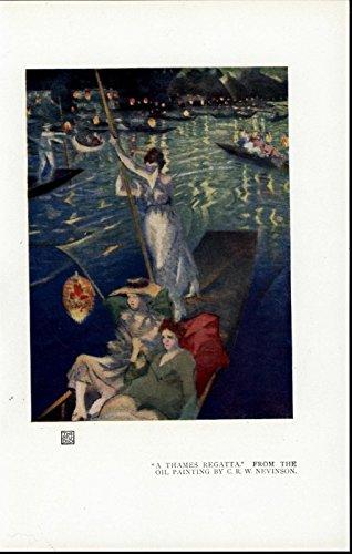 Thames Regatta Three Women on a Gondola Lights nice 1921 vintage color art print