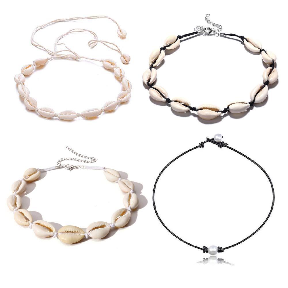 KWHY Natural Shell Choker Handmade Rope Pearl Hawaii Beach Necklace Jewelry for Women Girls