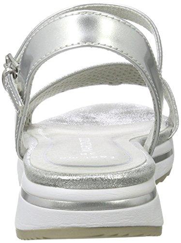 Comb con Silver Mujer Plateado Marco Cuña Sandalias 948 28721 para Tozzi AcqfzwZ