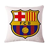 SPILLOWR Barcelona Home Soccer Club Pillow Shams Throw Pillow Case Shell Decorative Cushion Cover Pillowcase Cotton Linen 18''X18