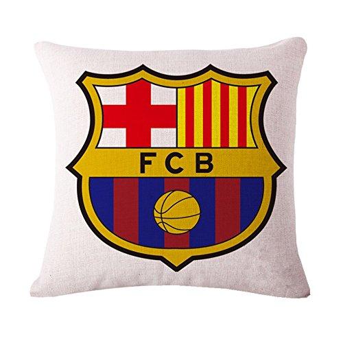 SPILLOWR Barcelona Home Soccer Club Pillow Shams Throw Pillow Case Shell Decorative Cushion Cover Pillowcase Cotton Linen 18''X18 by SPILLOWR