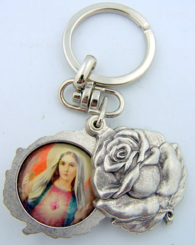 Silver Tone Immaculate with Sacred Heart Mary and Jesus Sliding Rosebud Medal Key Chain, 1 3/4 Inch