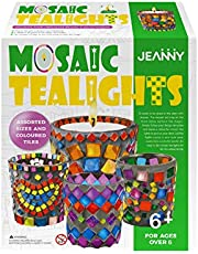 Jeanny DIY Creative Educational Handmade Toys Craft Kit for Kids, Decorate Mosaic Glass Tea Light Cup Holder, Educational Arts and Crafts Gift Kit Toys for Children 6 to 12 Years