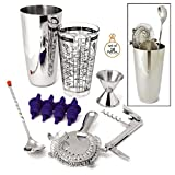 Image of Cocktail Shaker Bar Set 10 Piece by ChefGiant - Handy Home Bartender's Kit - Shaker, Bar Strainer, Bottle Opener, Bar Spoon, Corkscrew, Jigger & 4 Pourers - Ideal for Professionals & Training Barista