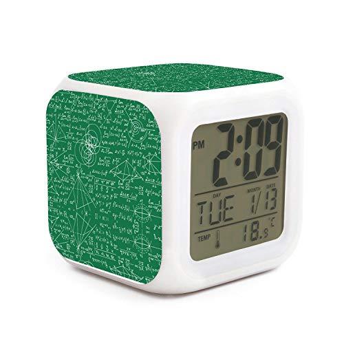kanidjkd Wake Up Math Equations Geometry Green Backdrop Dimmer Snooze LED Nightlight Bedroom Desk Travel Digital Small Desk Bedroom Bedside Clocks for Kids Girls
