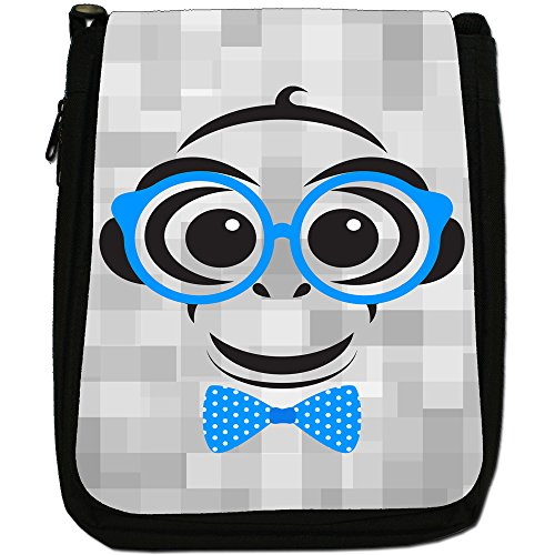 Medium Tie Canvas Shoulder Bow Hipster Black Bag amp; Ties Size With Monkey Glasses Animals Dot a6CqT