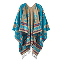 Urban CoCo Women's Soft Vintage Poncho Cape Shawl with Tassel (blue)