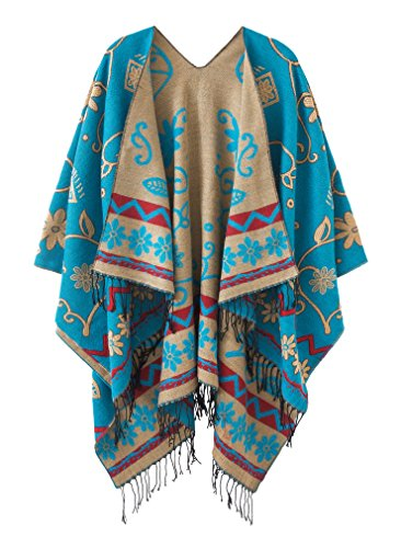 Women's Fashionable Retro Style Vintage Pattern Tassel Poncho Shawl Cape (Series1-blue)
