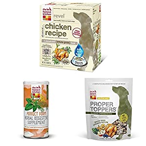 The Honest Kitchen Starter Kit - Natural Organic Whole Grain Chicken Dog Food, Digestive Supplement and Toppers - Revel, Perfect Form & Proper Toppers
