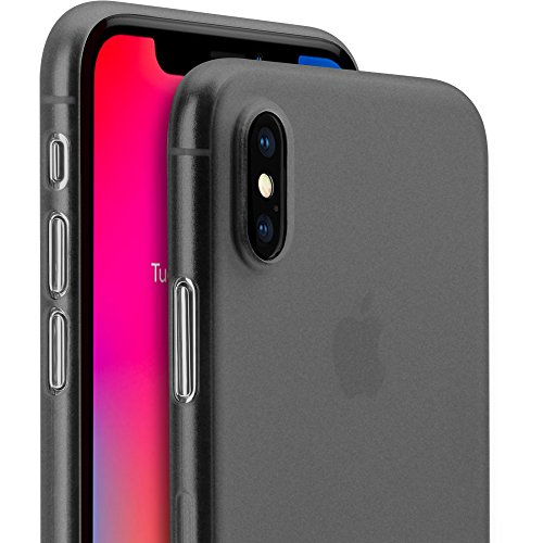 iPhone X Thin Case, GMYLE Ultra Slim [0.3mm] Thin Fit Flexible Semi-transparent Protective Scratch Resistant Support Wireless Charging Soft TPU Cover Case for iPhone X 5.8 Inch - Transparent Black (Door Battery Rubberized)
