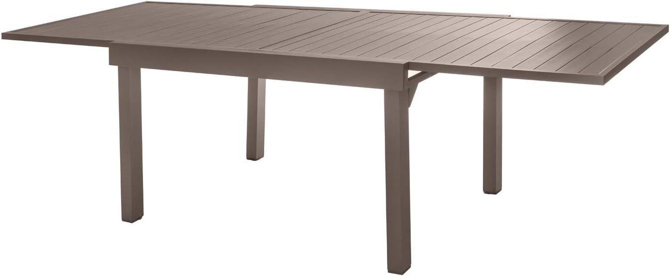 Mesa extensible de exterior, color topo, de aluminio, de 135-270 x ...