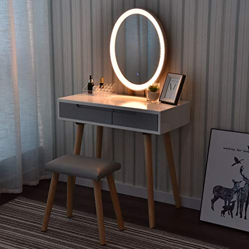 Vanity Table Set with Adjustable Brightness Mirror and Cushioned Stool, Dressing Table Vanity Makeup Table with Free Make-up Organizer