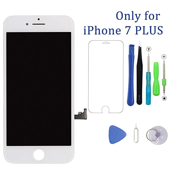 the latest 0e85f 0ac0c Screen Replacement White for iPhone 7 Plus 5.5 inch 3D Touch LCD Screen  Digitizer Replacement Frame Display Assembly Set with Repair Tool Kit