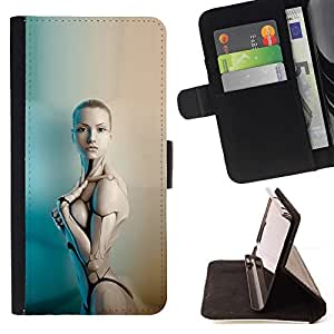 - Sexy Humanoid Robot Woman/ Personalized Design Custom Style PU Leather Case Wallet Flip Stand - Cao - For HUAWEI P8 Lite