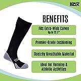 Extra Wide Calf Compression Socks - Mens Black Big