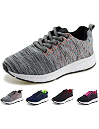 Kids Knit Shoes Boys Girls Breathable Lace Up Trail Running Sneakers