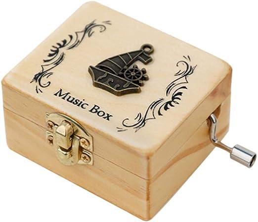 SUPVOX Caja de melodía de Madera manivela patrón de Barco de Vela Caja de música Caja Musical Antigua Presente para Fiesta de Navidad de cumpleaños: Amazon.es: Hogar