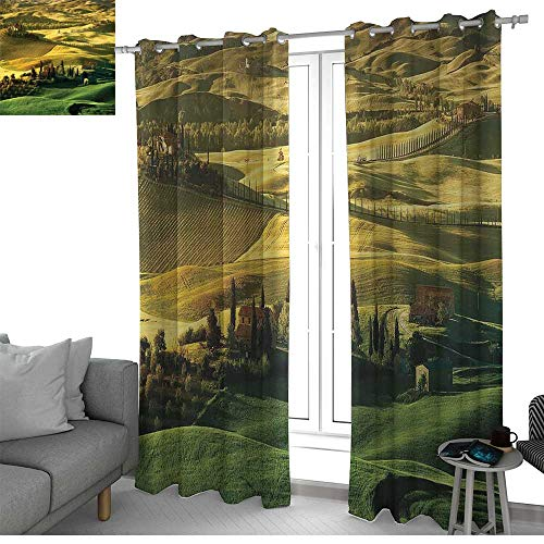 (NUOMANAN backout Curtains for Bedroom Tuscan,Peaceful Landscape of Pienza Tuscany Vineyard Trees Meadow Hill Ancient House,Green and Khaki,Pocket Thermal Insulated Tie Up Curtain 100