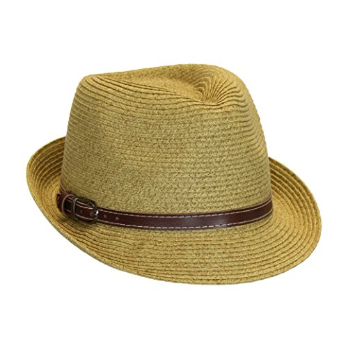 Sun Protection Fedora Hat, Packable Straw Short Brim Panama, One Size Drawstring