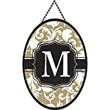Monogram Letter M Shield with White Filigree on Burlap 18 x 13 Oval Chain Rope Door Banner