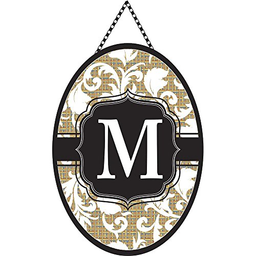 - Monogram Letter M Shield with White Filigree on Burlap 18 x 13 Oval Chain Rope Door Banner