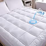 WhatsBedding Waterproof Mattress Pad King Size Cotton Top Hypoallergenic Down Alternative Filling Pillowtop Mattress Topper Cover-Fitted Quilted (FS King)