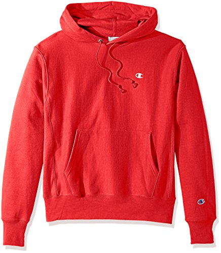 Signature Silver Basketball (Champion LIFE Men's Reverse Weave Pullover Hoodie, Team Red Scarlet/Left Chest C Logo, Medium)