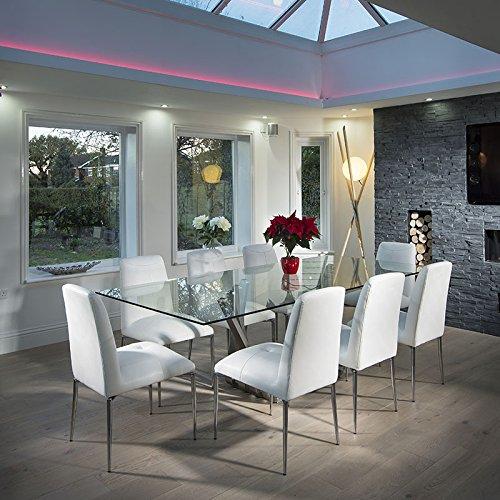 Quatropi Stunning Dining Set White Gloss Dining Table White Z - Glass dining table for 10