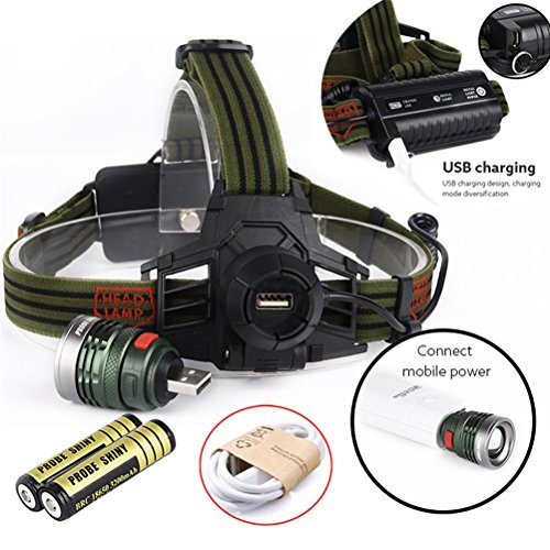 [Willsa 10000LM LED Headlamp XM-L T6 Head Light Rechargeable USB + Battery] (Firefly Kids Costumes)