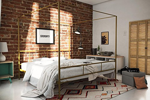 Novogratz Marion Canopy Bed Frame, Gold King