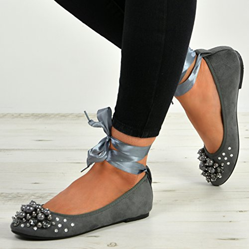Wrap Diamante Flats Studded Shoes New Grey Pearl Ladies Cucu Womens Ankle Sizes Fashion Ballerina wxIAznq4