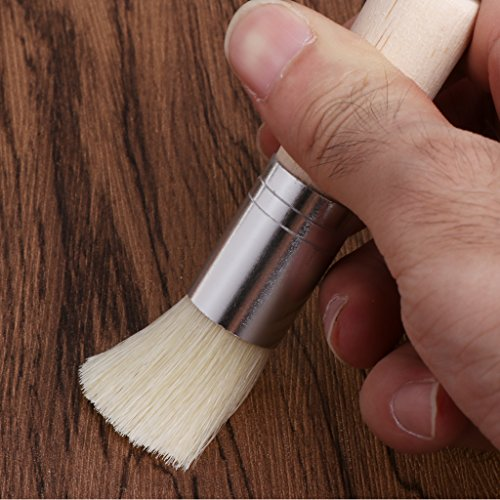 Misright 3Pcs Wooden Stencil Brush Hog Bristle Brushes Acrylic Watercolor Oil Painting