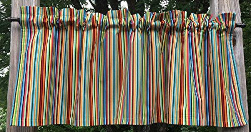 (Rainbow Striped Red Blue Green Yellow White Stripes Handcrafted Cotton Lined Curtain Valance)