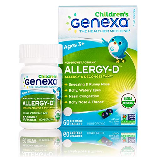 Genexa Homeopathic Allergy for Children: The Only Certified Organic Kids Allergy & Decongestant Medicine. Physician Formulated, Natural, Non-GMO Verified & Non-Drowsy (60 Chewable Tablets) ()